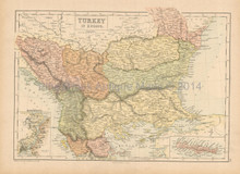 Turkey In Europe Antique Map Black 1865