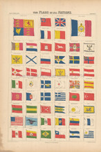 Flags Of All Nations Antique Map Black 1865