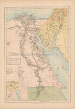 Egypt Arabia Petraea Antique Map Black 1867