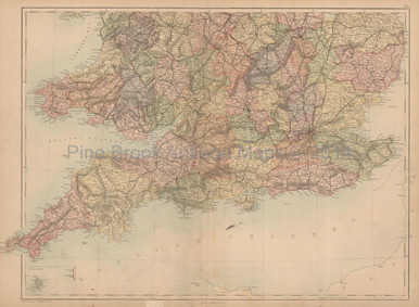 England Wales South Antique Map Black 1867