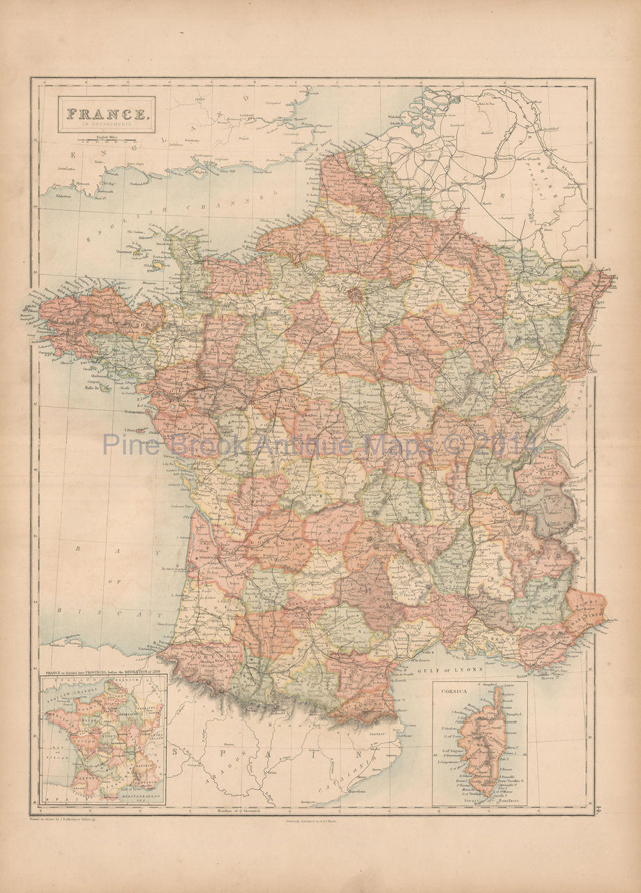 Map Of France And Corsica.Original France Corsica Antique Map Black 1867 For Sale Home Decor