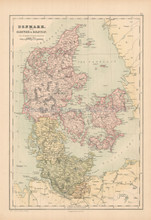 Denmark Antique Map Black 1867