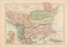 Turkey In Europe Antique Map Black 1867