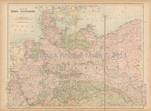Germanic Confederation North Antique Map Black 1867