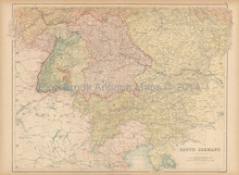 Germanic Confederation South Antique Map Black 1867