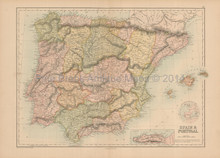 Spain Portugal Antique Map Black 1867