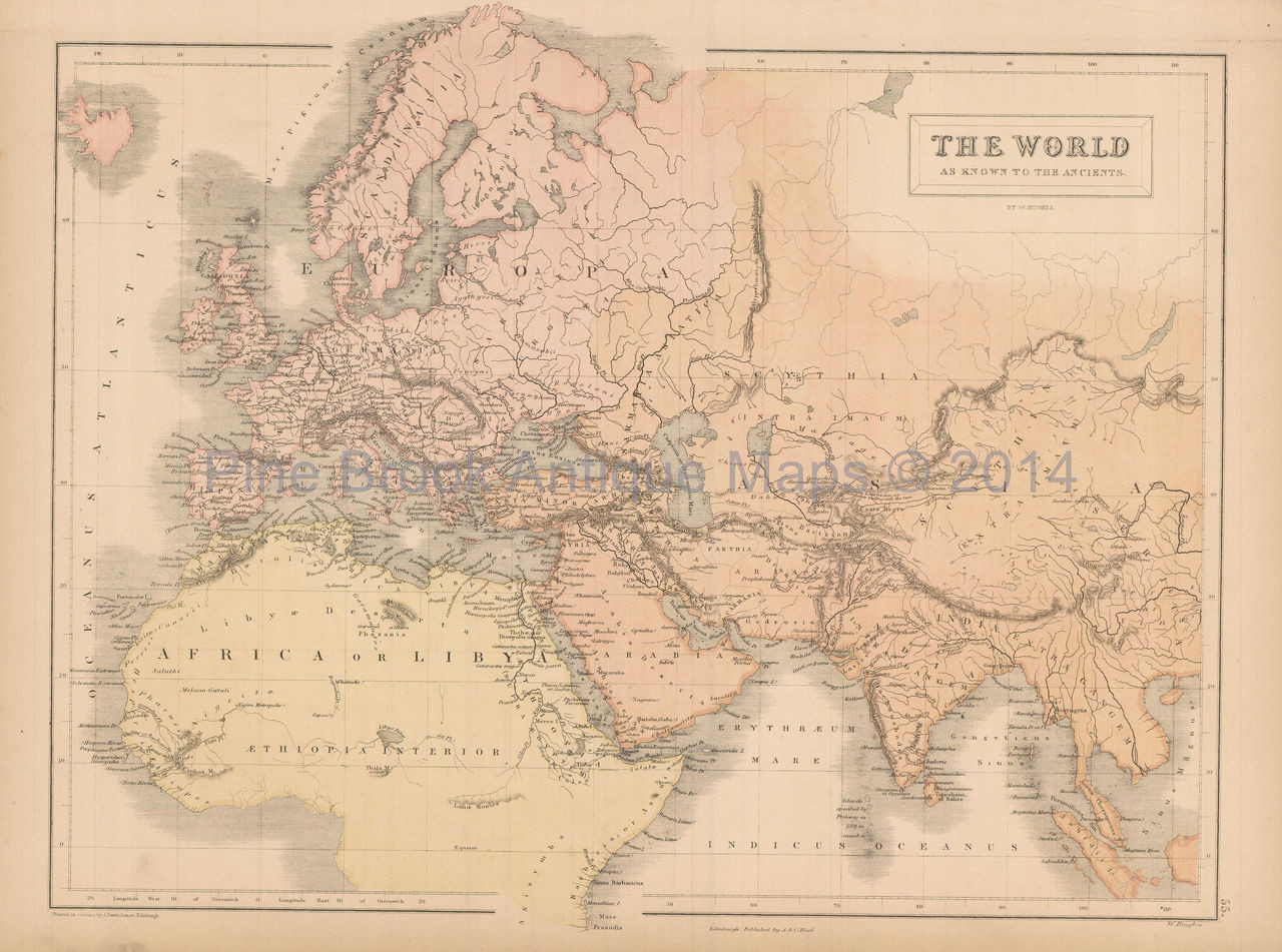 Authentic World Map.Original World Known To Ancients Antique Map Black 1867 For Sale