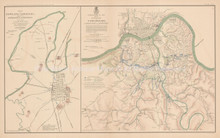 Defenses Of Bowling Green Cincinnati Civil War Antique Map 1895 circa
