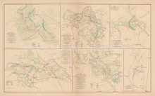 Rapidan To James River Civil War Antique Map 1895 circa