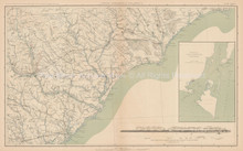 North & South Carolina Civil War Antique Map 1895 circa