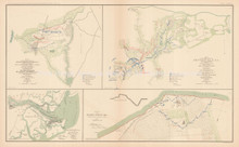 Campaign Carolinas Bird's Point Missouri Civil War Antique Map 1895 circa