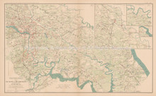 Richmond Virginia Peninsular 1864 Civil War Antique Map 1895 circa