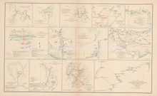 Peninsular Campaign N. Virginia Civil War Antique Map 1895 circa