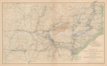 Marches Of Sherman's Forces Civil War Antique Map 1895 circa