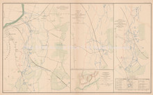 Richmond Virginia Peninsular Civil War Antique Map 1895 circa
