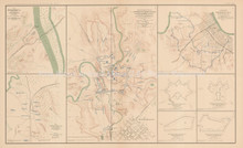 Field Works Bridgeport Stevenson Civil War Antique Map 1895 circa