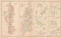 Defenses Alleghanies Civil War Antique Map 1895 circa