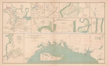 Richmond Virginia Atlanta Civil War Antique Map 1895 circa