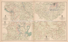 Rapidan To James River Richmond Civil War Antique Map 1895 circa