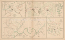 Middle Tennessee Campaign Vicksburg Civil War Antique Map 1895 circa