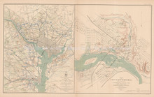 Defenses Of Washington Richmond Civil War Antique Map 1895 circa