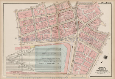 South Station Dewey Square Boston Antique Map Bromley 1922