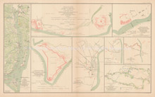 Defenses Of Wilmington Cape Fear Civil War Antique Map 1895 circa