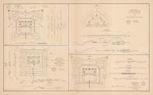 Plans Of Forts Batteries Mobile 1 Civil War Antique Map 1895 circa