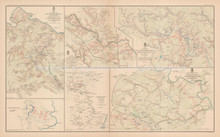 Rapidan To James Chickamauga Civil War Antique Map 1895 circa