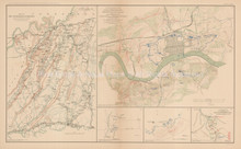 Chickamauga Campaign Knoxville Civil War Antique Map 1895 circa