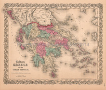 Greece Ionian Republic Antique Map Colton 1859