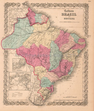 Brazil Guyana Suriname Antique Map Colton 1859