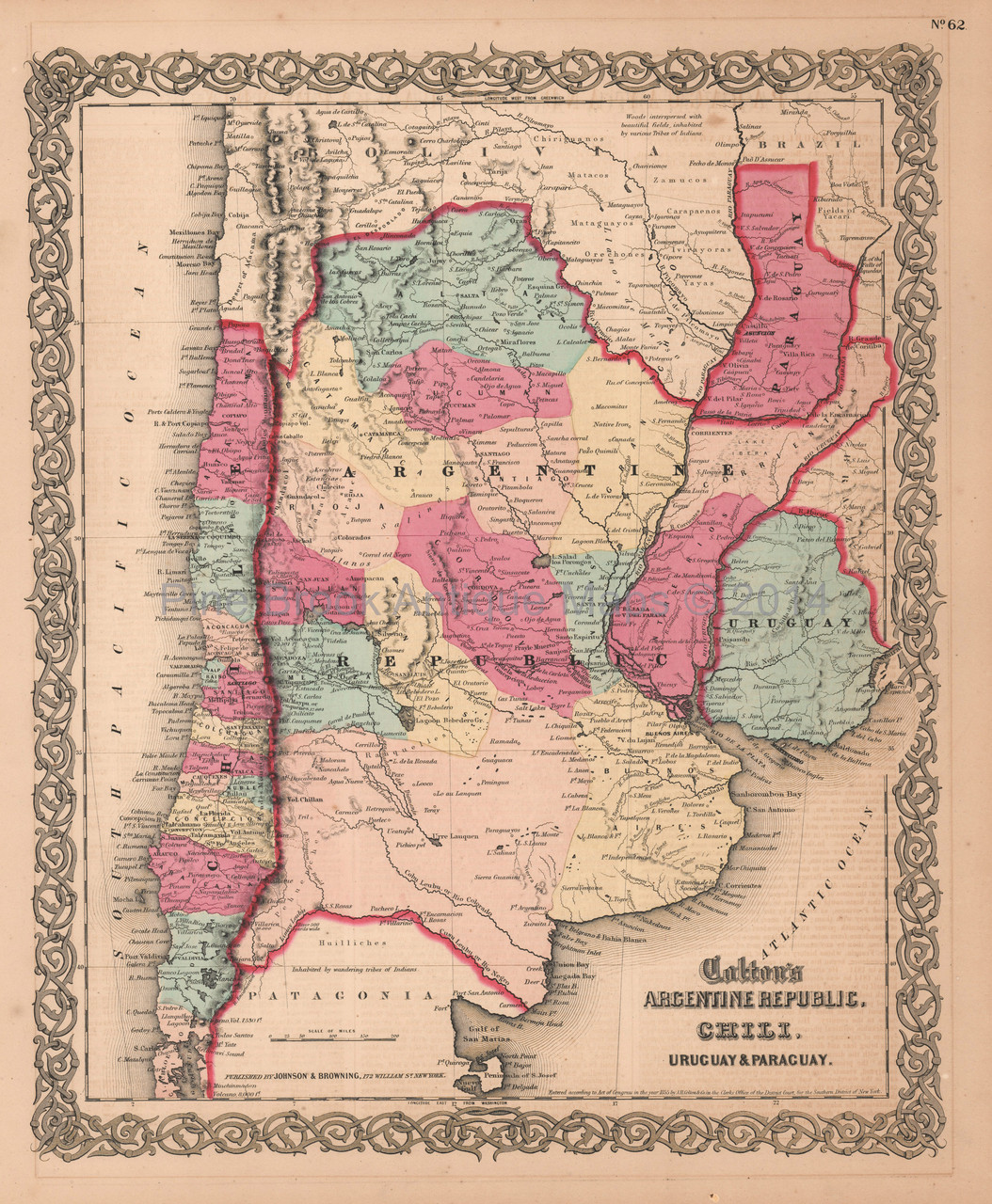 Argentina Chili Paraguay Antique Map Colton 1859 - Pine Brook ... on