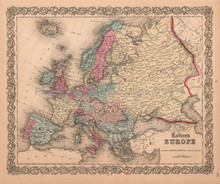 European Continent Antique Map Colton 1859