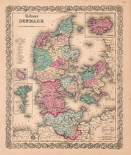 Denmark Jutland Antique Map Colton 1859