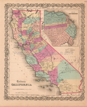 California CA Antique Map Colton 1859