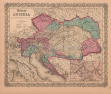 Austria Hungary Bohemia Antique Map Colton 1859