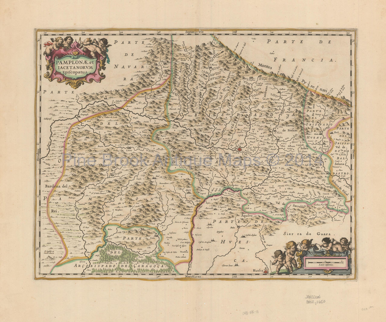 Map Of Spain Huesca.Jaca Huesca Spain Antique Map Jansson 1650