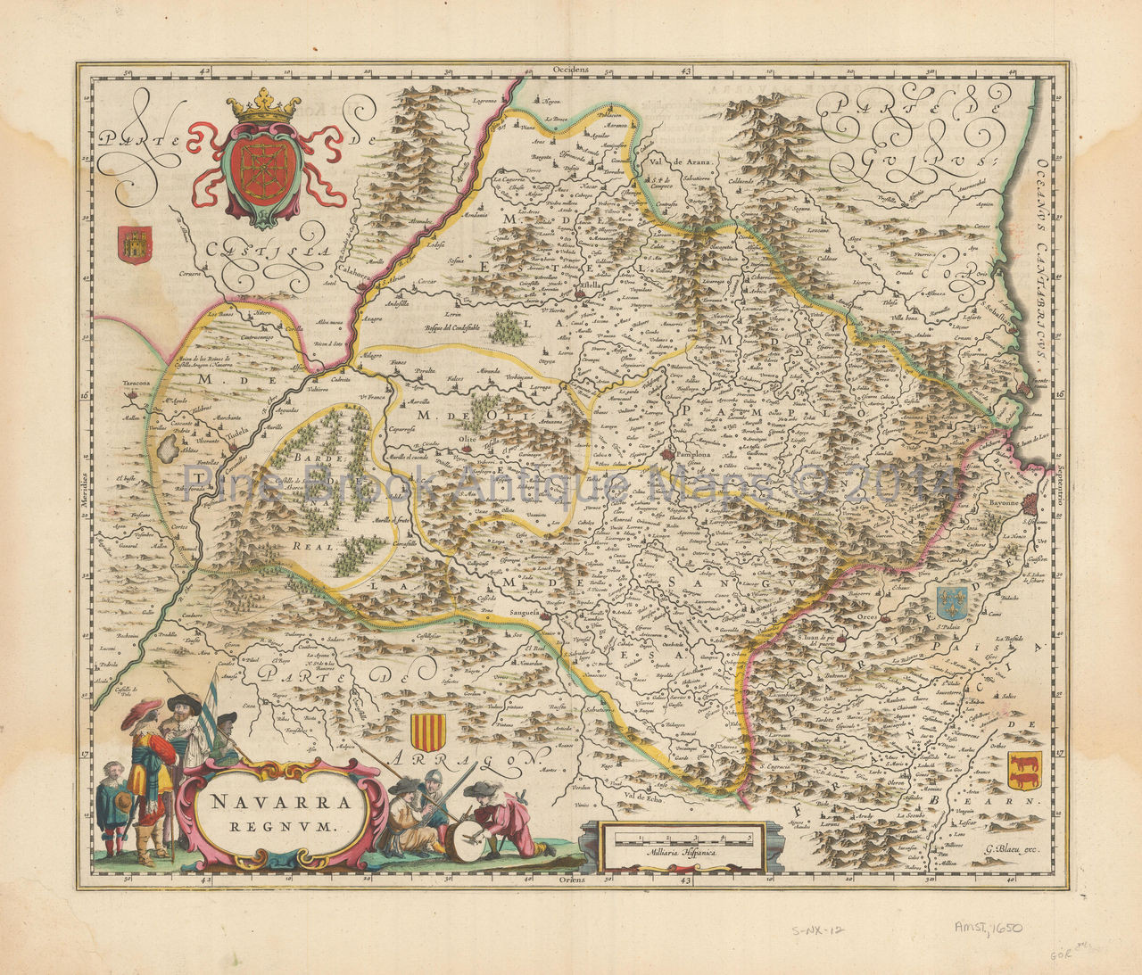 Map Of Spain Navarra.Navarra Spain Antique Map Blaeu 1640