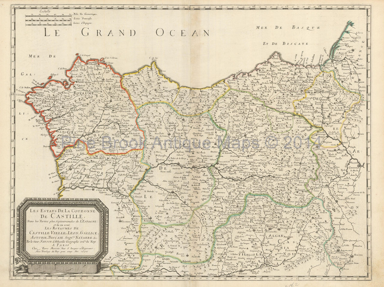Map Of Northern Spain.Northern Spain Antique Map Sanson 1652 Pine Brook Antique Maps