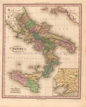 Kingdom of Naples Antique Map Tanner 1836
