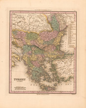 Turkey in Europe Antique Map Tanner 1836