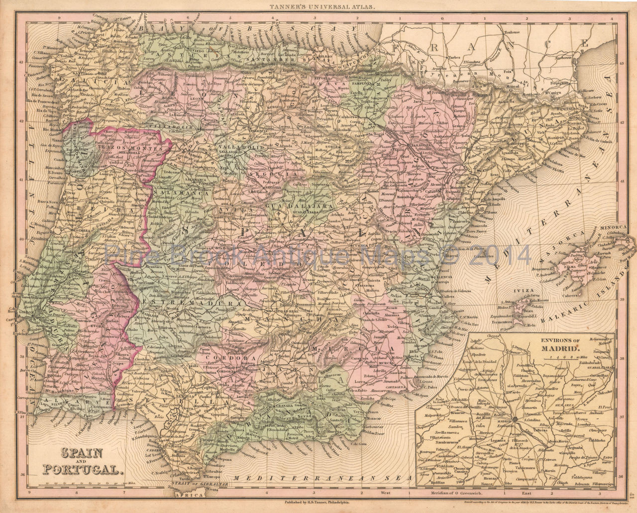 Map Of Spain For Sale.Spain Portugal Antique Map Tanner 1836