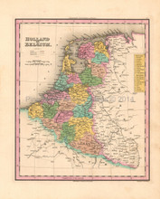 Holland Belgium Antique Map Tanner 1836