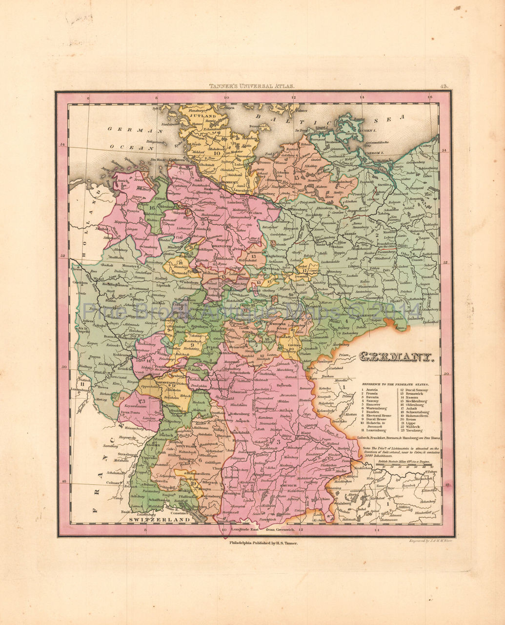 Map Of Germany For Sale.Germany Antique Map Tanner 1836