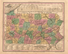 Pennsylvania Antique Map Tanner 1836