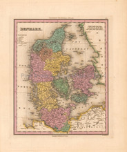 Denmark Jutland Antique Map Tanner 1836