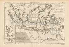 East Indies Antique Map Bonne 1780