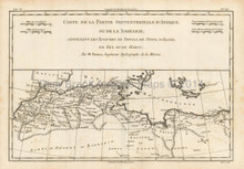 North Africa Antique Map Bonne 1780
