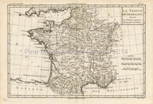 France Antique Map Bonne 1780